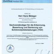 Zertifikat von TÜV-Rheinland für Hans Metzger